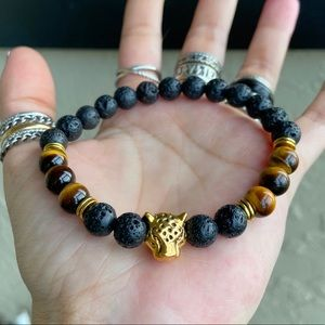 Black lava rock & tiger eye panther bead bracelet